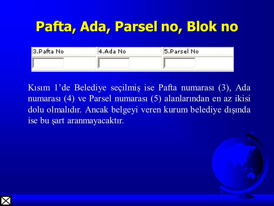 Pafta, Ada, Parsel no, Blok no