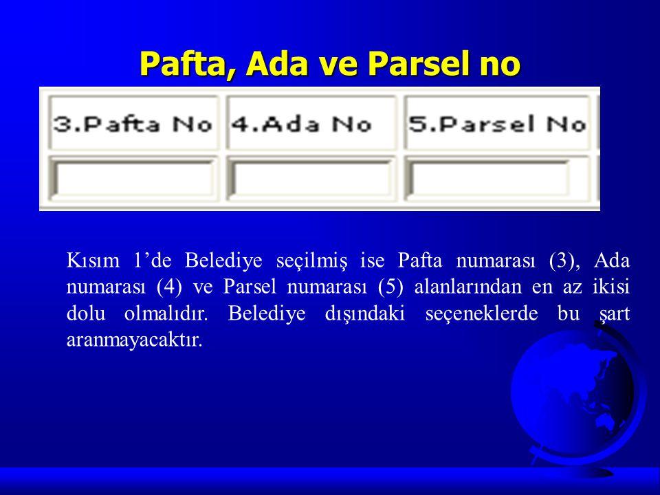 Pafta, Ada ve Parsel no