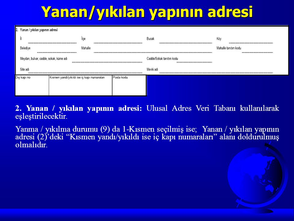 Yanan/yıkılan yapının adresi