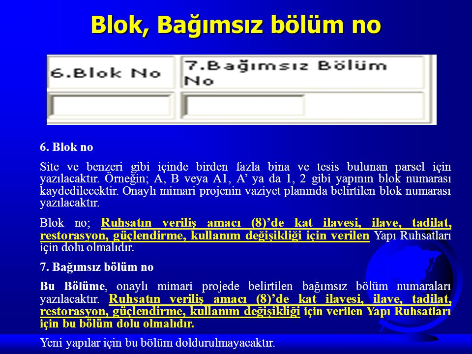 Blok, Bağımsız bölüm no 6. Blok no
