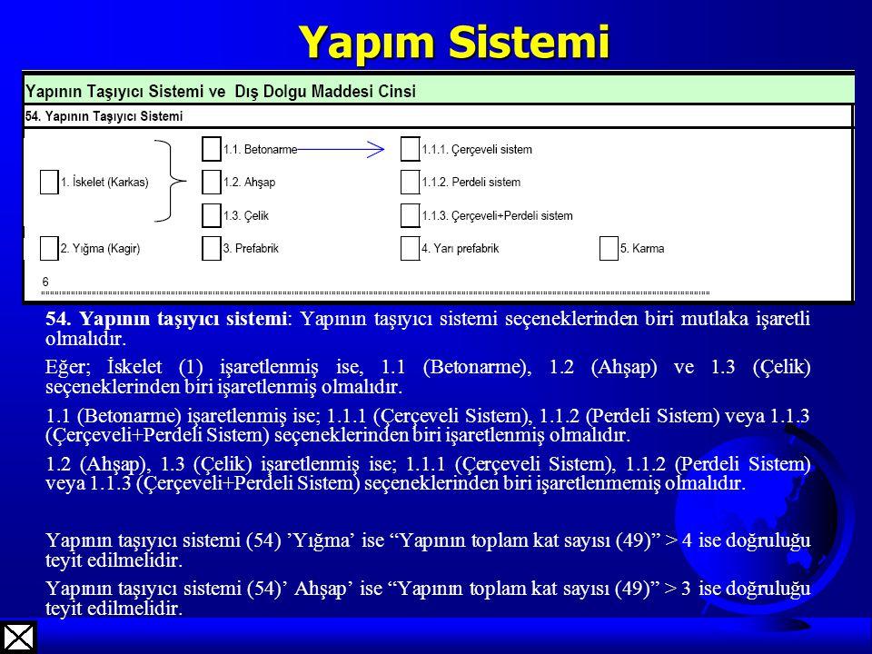 Yapım Sistemi 54. Yapının taşıyıcı sistemi: Yapının taşıyıcı sistemi seçeneklerinden biri mutlaka işaretli olmalıdır.