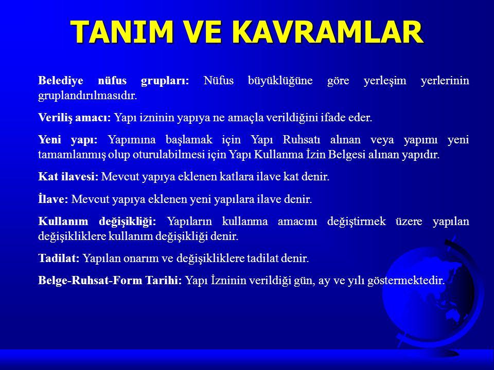 TANIM VE KAVRAMLAR Belediye nüfus grupları: Nüfus büyüklüğüne göre yerleşim yerlerinin gruplandırılmasıdır.