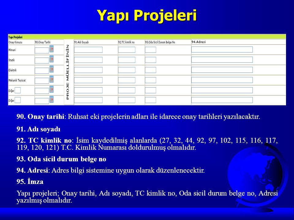 Yapı Projeleri 90. Onay tarihi: Ruhsat eki projelerin adları ile idarece onay tarihleri yazılacaktır.