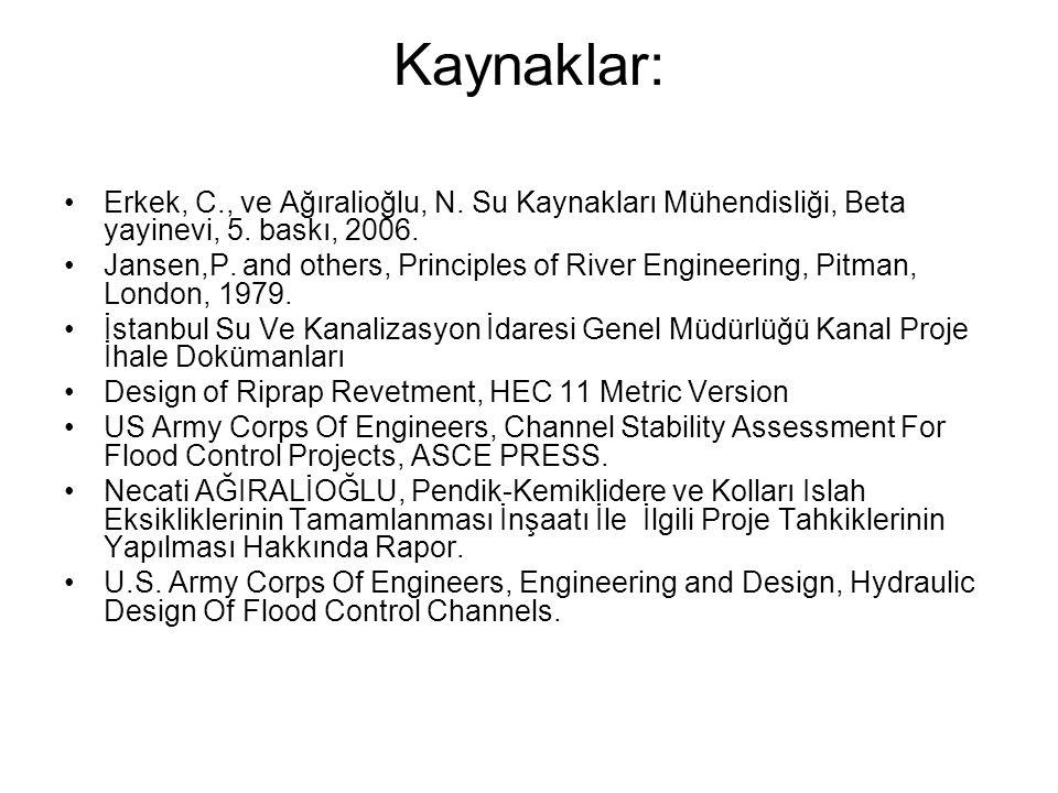Kaynaklar: Erkek, C., ve Ağıralioğlu, N. Su Kaynakları Mühendisliği, Beta yayinevi, 5. baskı, 2006.