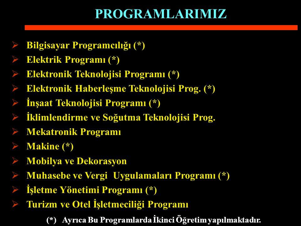 (*) Ayrıca Bu Programlarda İkinci Öğretim yapılmaktadır.