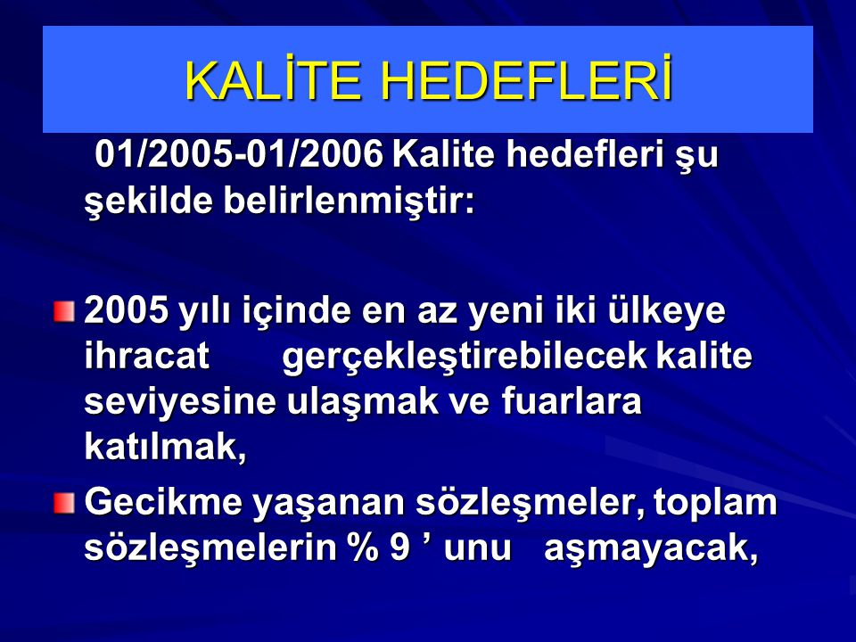 KALİTE HEDEFLERİ 01/2005-01/2006 Kalite hedefleri şu şekilde belirlenmiştir: