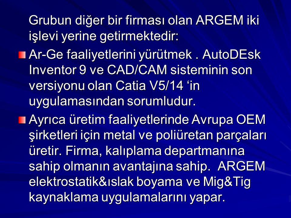 Grubun diğer bir firması olan ARGEM iki işlevi yerine getirmektedir: