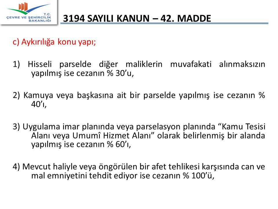 3194 SAYILI KANUN – 42. MADDE c) Aykırılığa konu yapı;