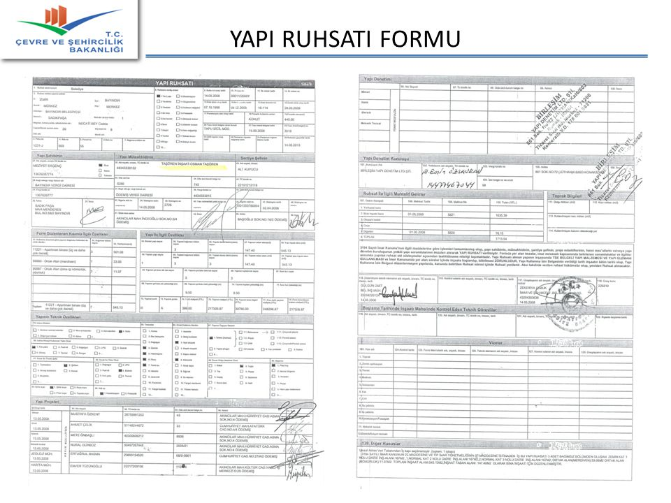YAPI RUHSATI FORMU