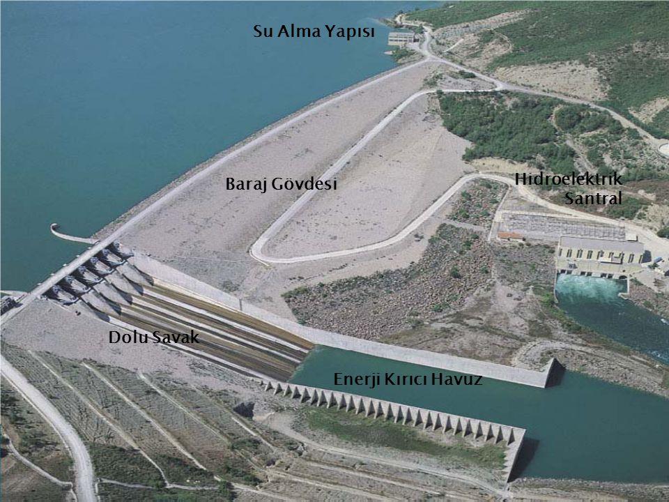 Su Alma Yapısı Hidroelektrik Santral Baraj Gövdesi Dolu Savak Enerji Kırıcı Havuz