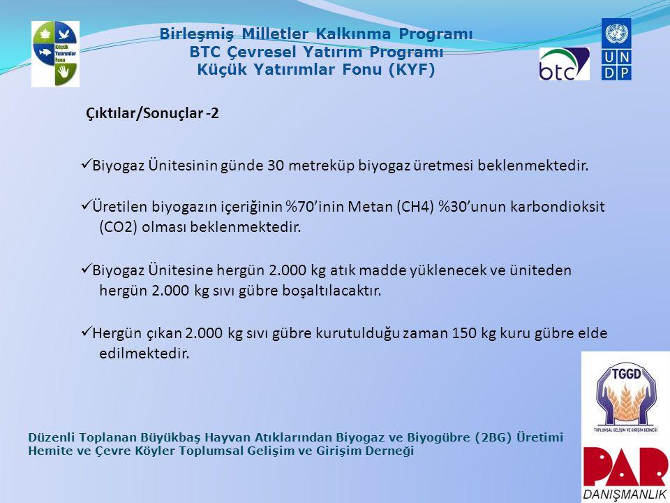 Çıktılar/Sonuçlar -2 Biyogaz Ünitesinin günde 30 metreküp biyogaz üretmesi beklenmektedir.