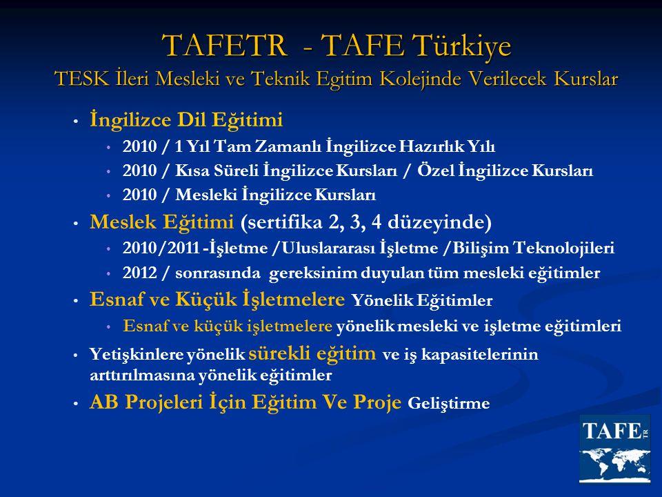 TAFETR - TAFE Türkiye TESK İleri Mesleki ve Teknik Egitim Kolejinde Verilecek Kurslar