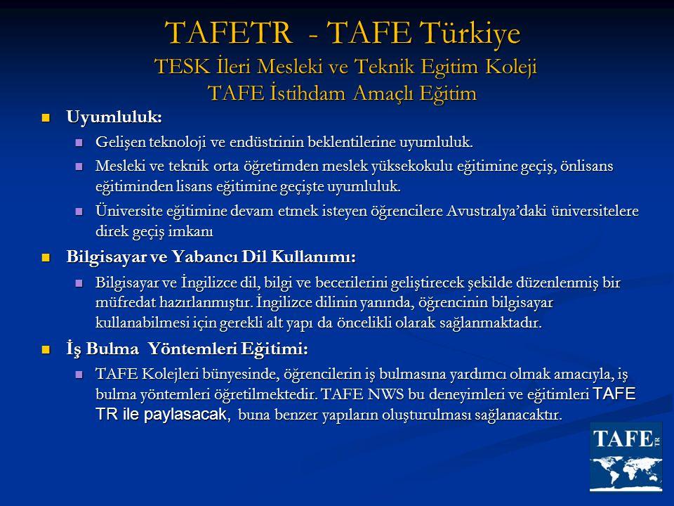 TAFETR - TAFE Türkiye TESK İleri Mesleki ve Teknik Egitim Koleji TAFE İstihdam Amaçlı Eğitim