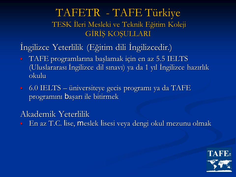 TAFETR - TAFE Türkiye TESK İleri Mesleki ve Teknik Eğitim Koleji GİRİŞ KOŞULLARI