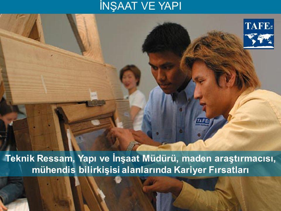 İNŞAAT VE YAPI Teknik Ressam, Yapı ve İnşaat Müdürü, maden araştırmacısı, mühendis bilirkişisi alanlarında Kariyer Fırsatları.
