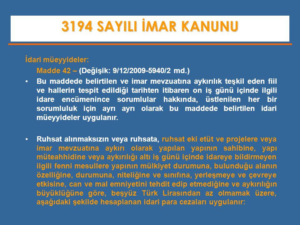 3194 SAYILI İMAR KANUNU İdari müeyyideler: