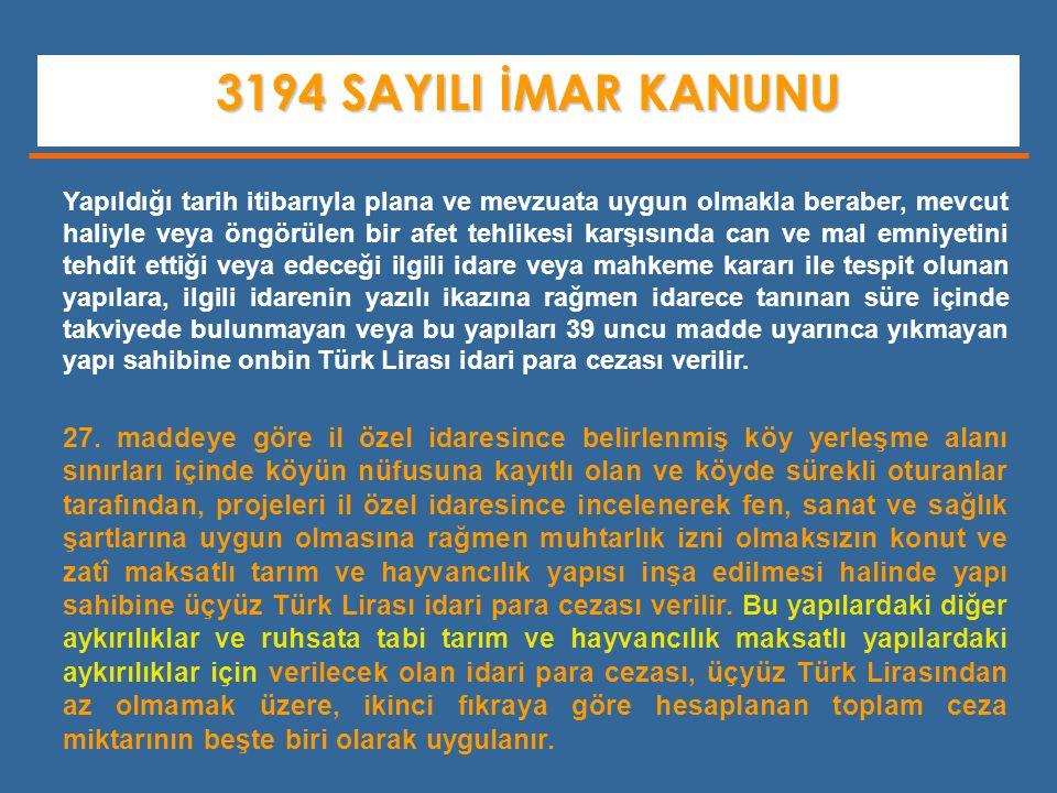 3194 SAYILI İMAR KANUNU