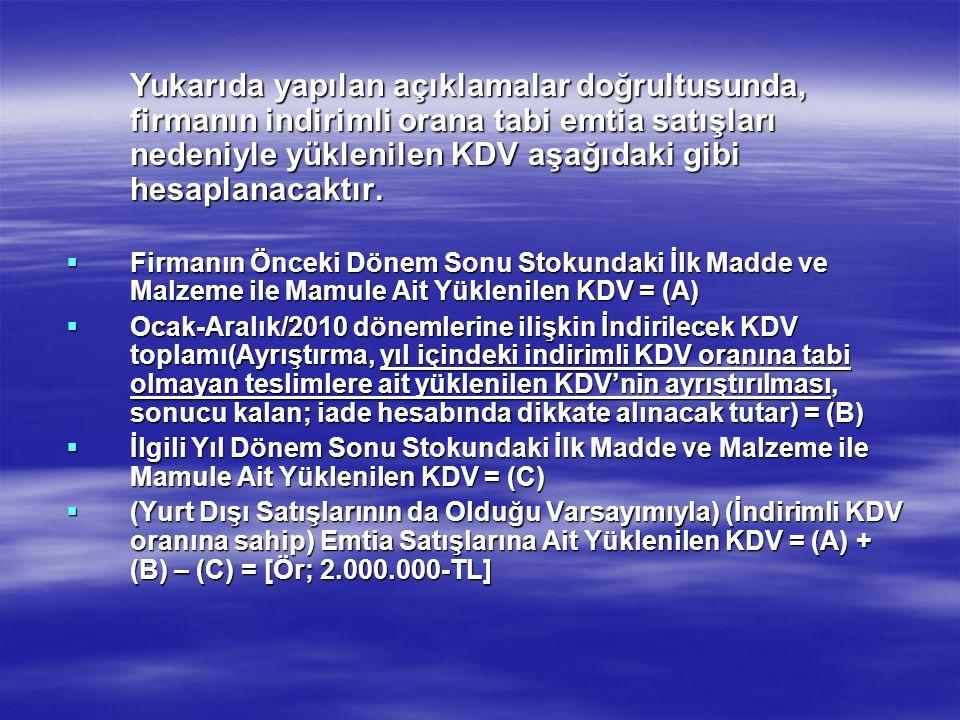 Yukarıda yapılan açıklamalar doğrultusunda, firmanın indirimli orana tabi emtia satışları nedeniyle yüklenilen KDV aşağıdaki gibi hesaplanacaktır.