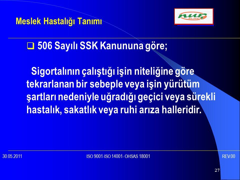 506 Sayılı SSK Kanununa göre;