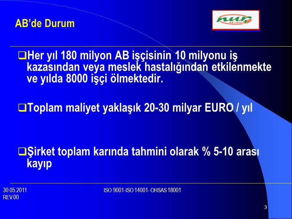 Toplam maliyet yaklaşık 20-30 milyar EURO / yıl