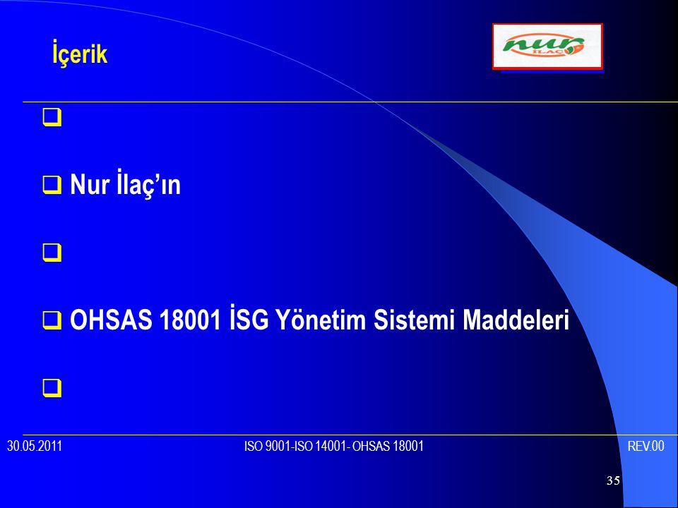 OHSAS 18001 İSG Yönetim Sistemi Maddeleri
