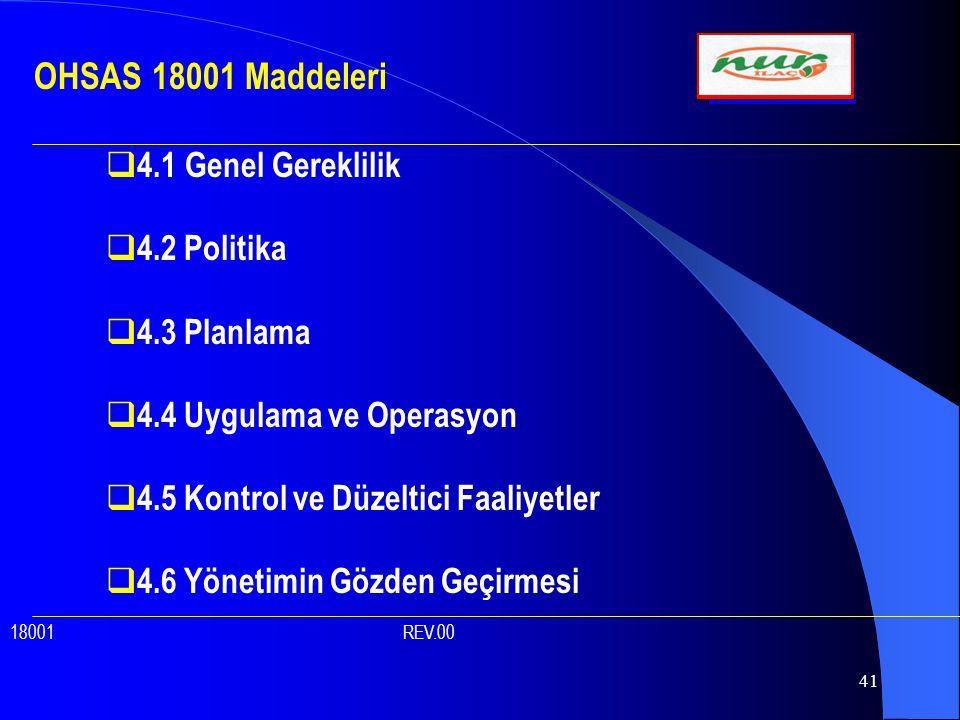 OHSAS 18001 Maddeleri 4.1 Genel Gereklilik 4.2 Politika 4.3 Planlama
