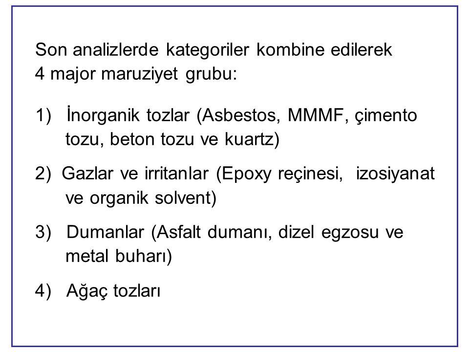 Son analizlerde kategoriler kombine edilerek