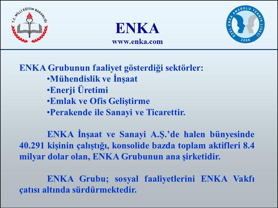 ENKA ENKA Grubunun faaliyet gösterdiği sektörler: