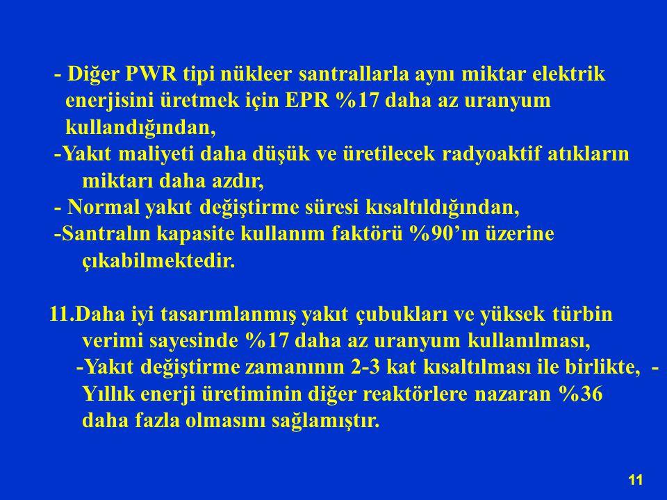 - Diğer PWR tipi nükleer santrallarla aynı miktar elektrik