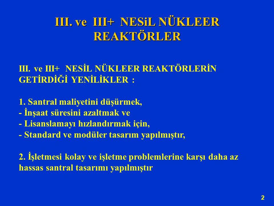 III. ve III+ NESiL NÜKLEER REAKTÖRLER