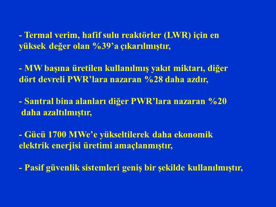 - Termal verim, hafif sulu reaktörler (LWR) için en yüksek değer olan %39'a çıkarılmıştır,