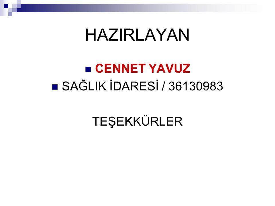 HAZIRLAYAN CENNET YAVUZ SAĞLIK İDARESİ / 36130983 TEŞEKKÜRLER