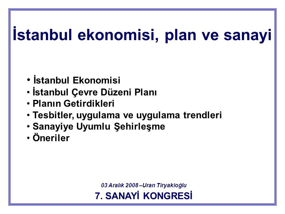 İstanbul ekonomisi, plan ve sanayi 03 Aralık 2008 –Uran Tiryakioğlu