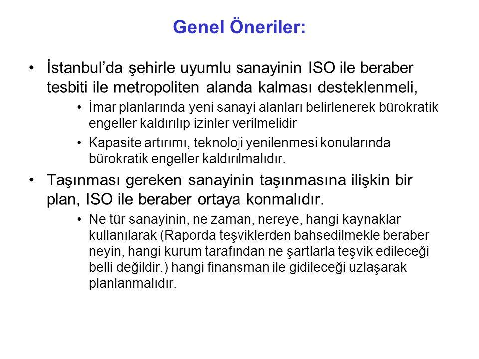 Genel Öneriler: İstanbul'da şehirle uyumlu sanayinin ISO ile beraber tesbiti ile metropoliten alanda kalması desteklenmeli,