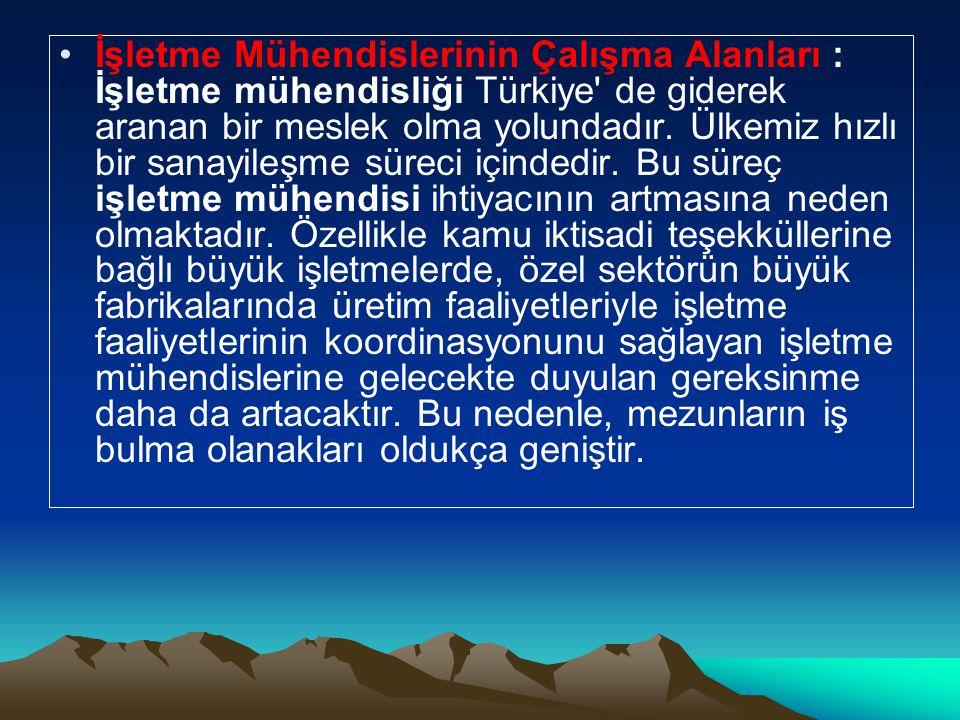 İşletme Mühendislerinin Çalışma Alanları : İşletme mühendisliği Türkiye de giderek aranan bir meslek olma yolundadır.