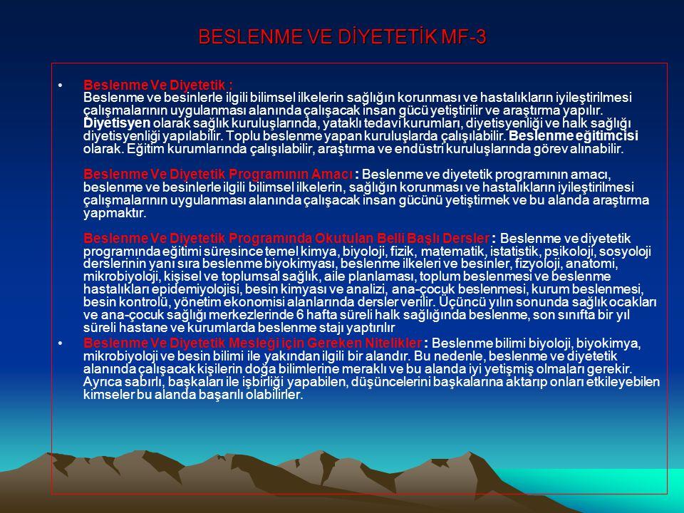 BESLENME VE DİYETETİK MF-3