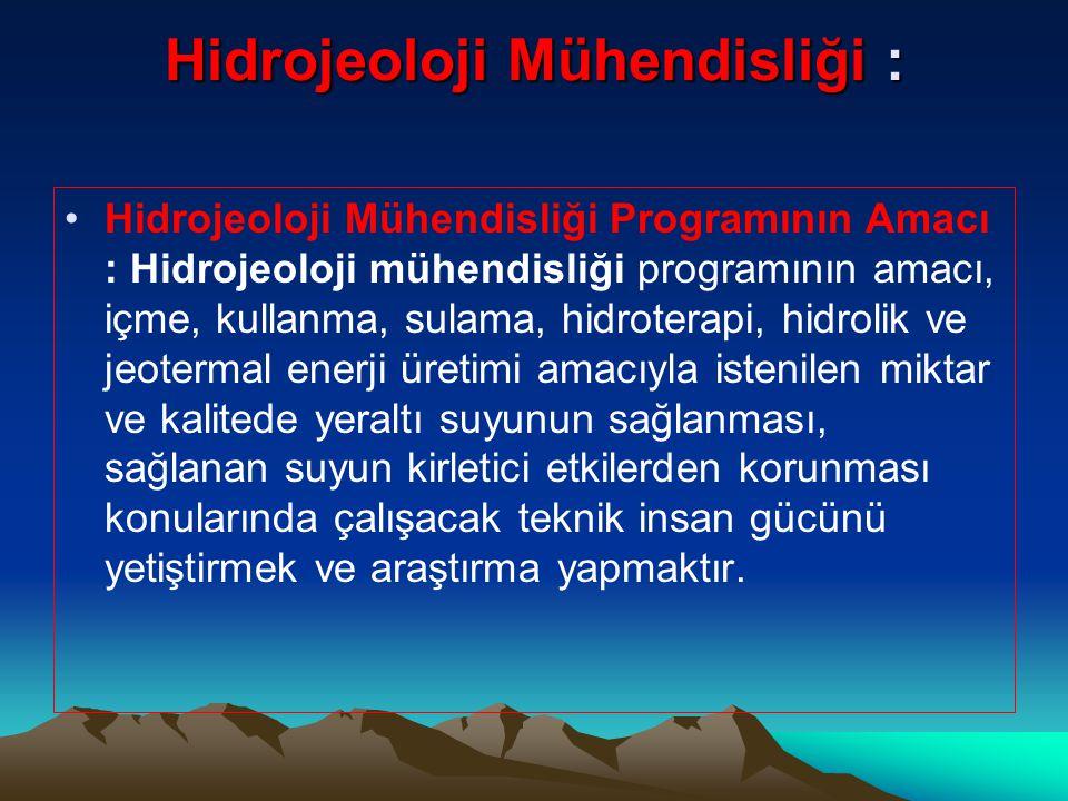 Hidrojeoloji Mühendisliği :