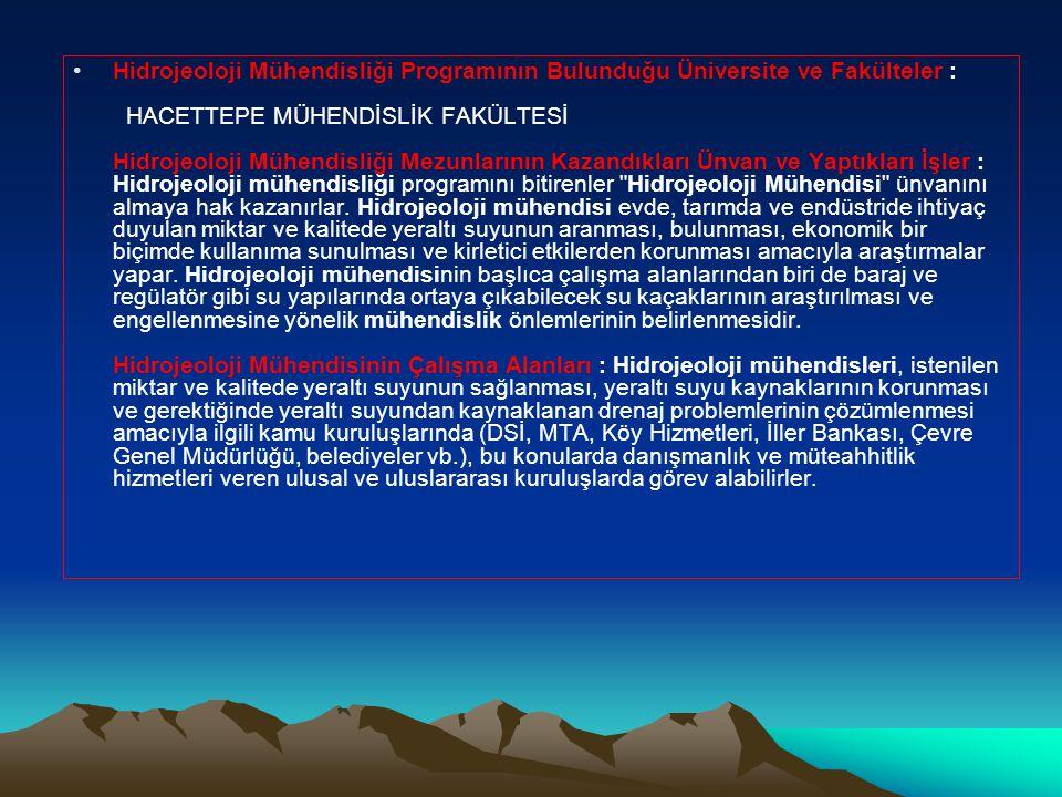 Hidrojeoloji Mühendisliği Programının Bulunduğu Üniversite ve Fakülteler : HACETTEPE MÜHENDİSLİK FAKÜLTESİ Hidrojeoloji Mühendisliği Mezunlarının Kazandıkları Ünvan ve Yaptıkları İşler : Hidrojeoloji mühendisliği programını bitirenler Hidrojeoloji Mühendisi ünvanını almaya hak kazanırlar.