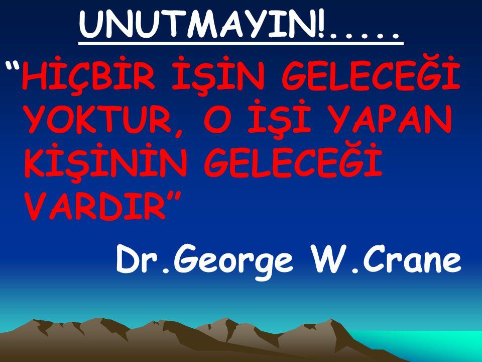 UNUTMAYIN!..... HİÇBİR İŞİN GELECEĞİ YOKTUR, O İŞİ YAPAN KİŞİNİN GELECEĞİ VARDIR Dr.George W.Crane