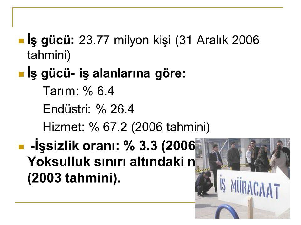 İş gücü: 23.77 milyon kişi (31 Aralık 2006 tahmini)