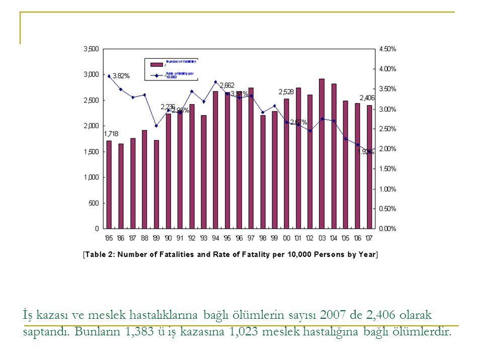 İş kazası ve meslek hastalıklarına bağlı ölümlerin sayısı 2007 de 2,406 olarak saptandı.