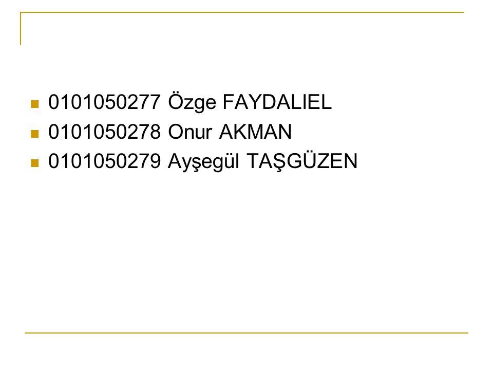 0101050277 Özge FAYDALIEL 0101050278 Onur AKMAN 0101050279 Ayşegül TAŞGÜZEN