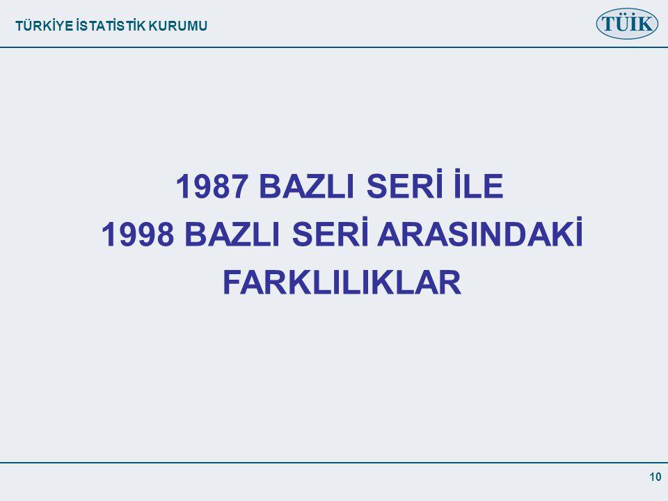 1987 BAZLI SERİ İLE 1998 BAZLI SERİ ARASINDAKİ FARKLILIKLAR