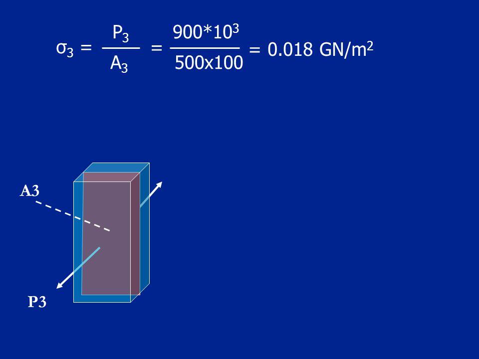 500x100 = 900*103 A3 P3 = 0.018 GN/m2 σ3 = A3 P3