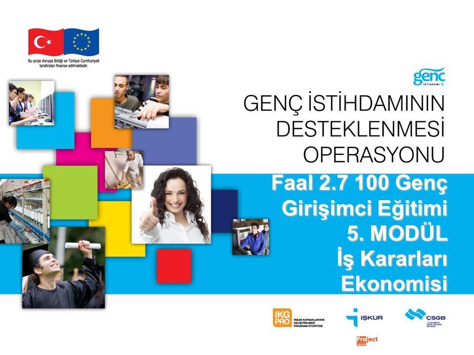 Faal 2.7 100 Genç Girişimci Eğitimi 5. MODÜL İş Kararları Ekonomisi