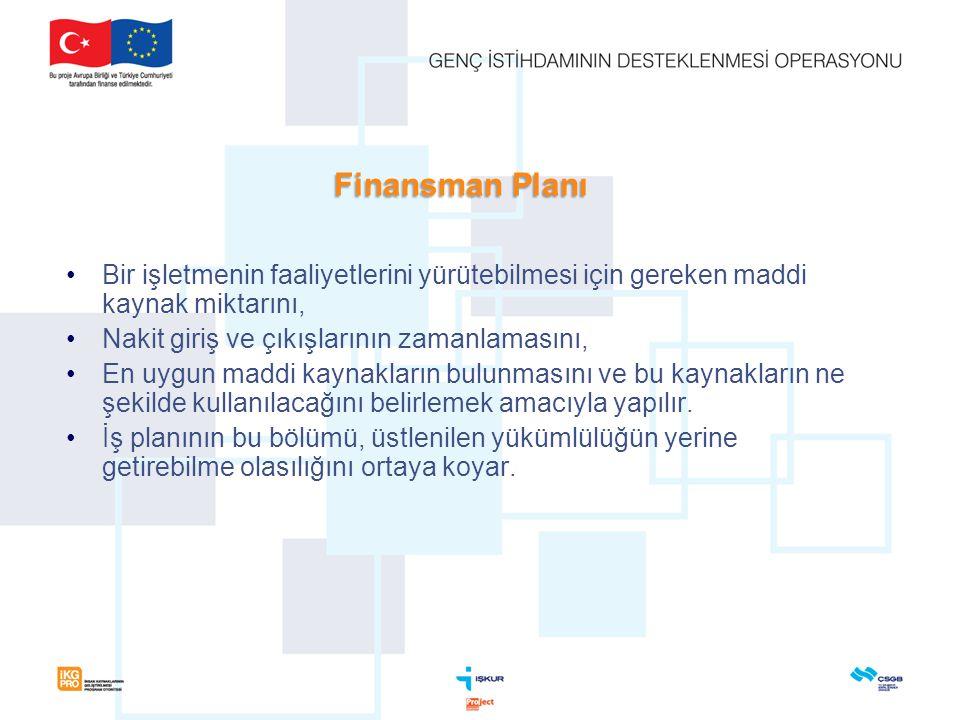Finansman Planı Bir işletmenin faaliyetlerini yürütebilmesi için gereken maddi kaynak miktarını, Nakit giriş ve çıkışlarının zamanlamasını,