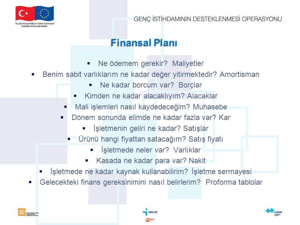 Finansal Planı Ne ödemem gerekir Maliyetler
