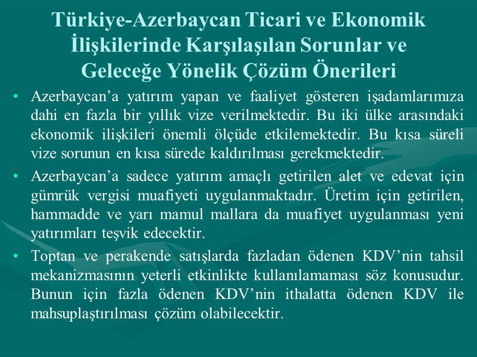 Türkiye-Azerbaycan Ticari ve Ekonomik İlişkilerinde Karşılaşılan Sorunlar ve Geleceğe Yönelik Çözüm Önerileri