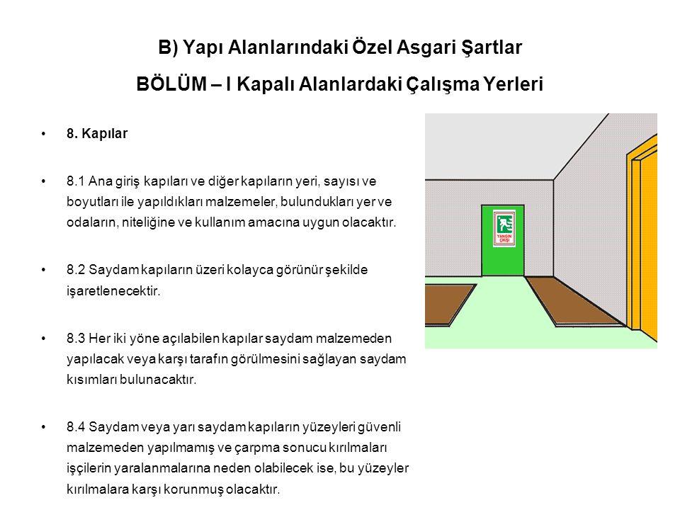 B) Yapı Alanlarındaki Özel Asgari Şartlar BÖLÜM – I Kapalı Alanlardaki Çalışma Yerleri