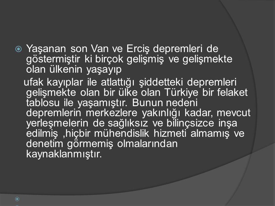 Yaşanan son Van ve Erciş depremleri de göstermiştir ki birçok gelişmiş ve gelişmekte olan ülkenin yaşayıp